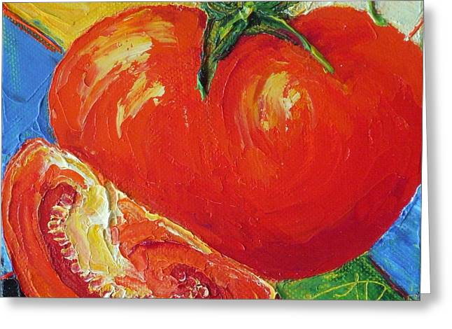 Paris' Red Tomato Greeting Card by Paris Wyatt Llanso