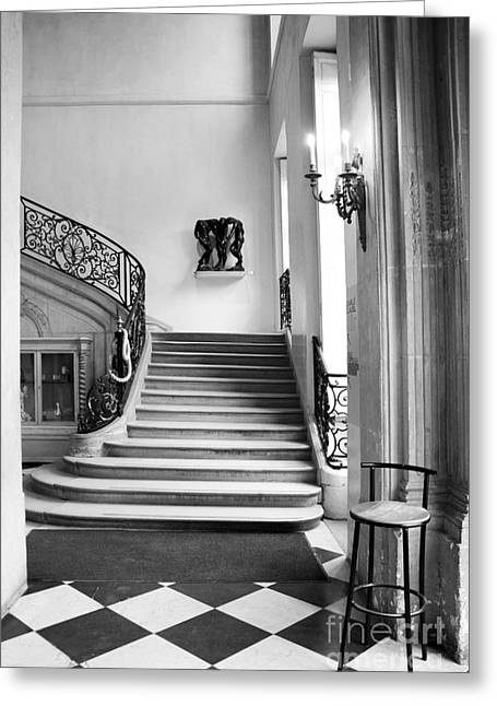 Paris Rodin Museum Black And White Fine Art Architecture - Rodin Museum Entry Staircase Greeting Card by Kathy Fornal