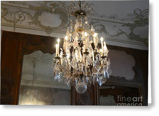 Paris Rodin Museum Crystal Chandelier - Rodin House Chandelier Mirrored Reflection Greeting Card by Kathy Fornal