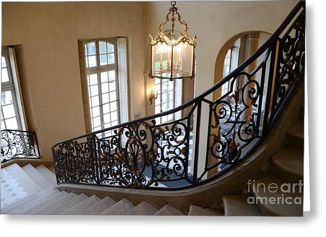 Paris Rodin Museum Staircase - Rodin Museum Entry Staircase Chandelier Architecture - Musee Rodin Greeting Card