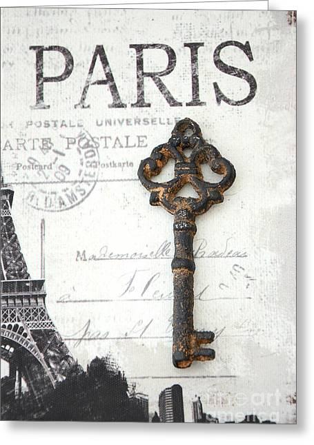 Paris Vintage Key Art - Paris Black And White Vintage Key Decor - Paris Books Skeleton Key  Greeting Card by Kathy Fornal