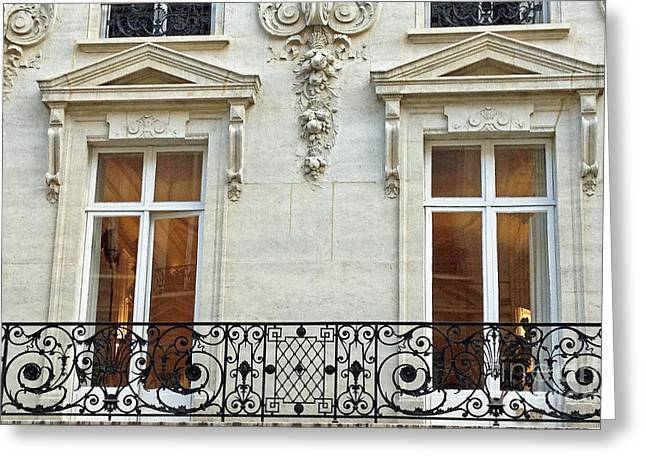 Paris Windows Balconies Baroque - Winter White Paris Windows Lace Balcony - Paris Architecture Greeting Card by Kathy Fornal