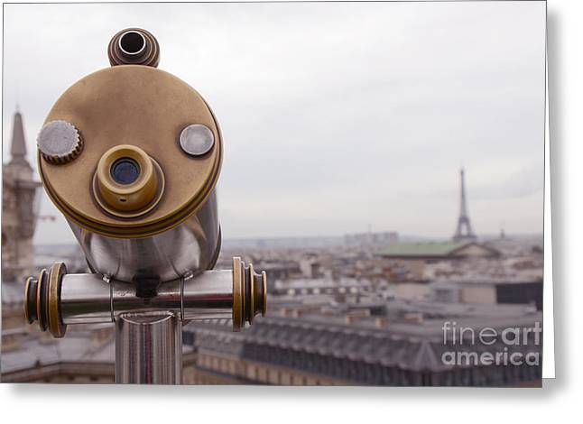 Paris Rooftops Telescope View Of Eiffel Tower - Paris Telescope Rooftop Eiffel Tower View Greeting Card