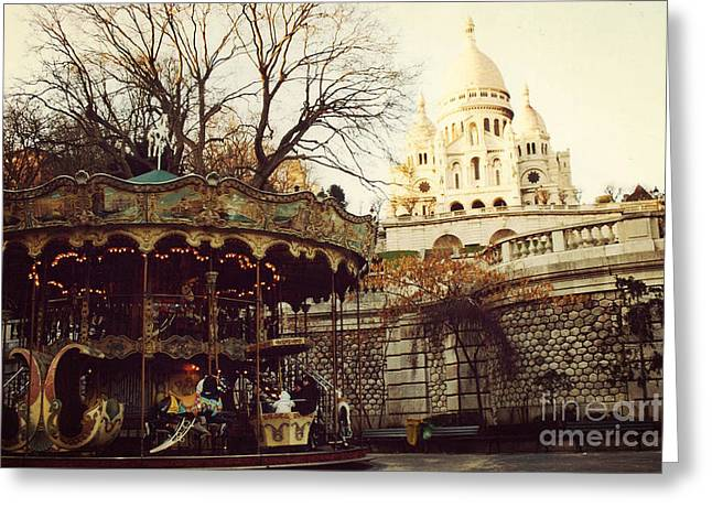 Paris Sacre Coeur Carousel Merry Go Round - Paris Autumn Fall Carousel Sacre Coeur Cathedral Greeting Card by Kathy Fornal