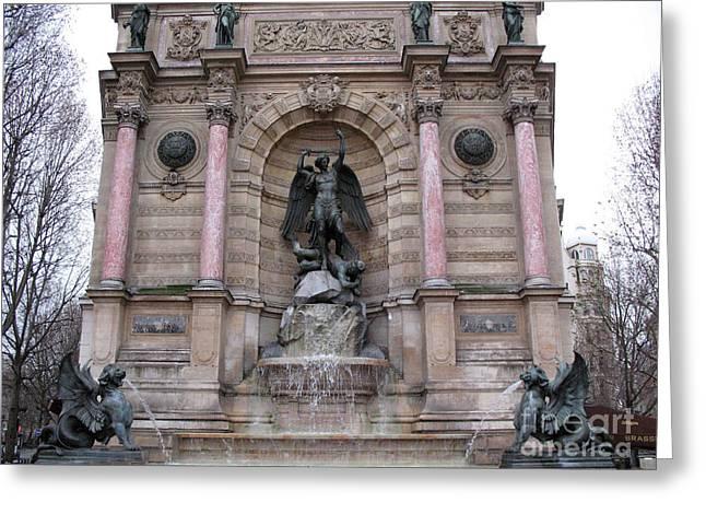 Paris Saint Michael Archangel Monument - Paris Famous Landmarks St. Michael Archangel Monument Greeting Card by Kathy Fornal