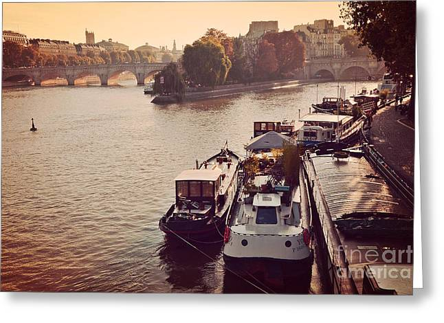 Paris Seine River Fall Autumn - Boats Along The Seine River Greeting Card