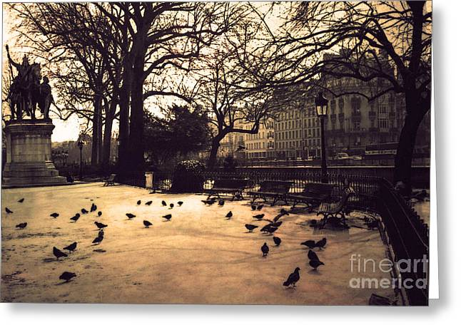 Paris Sepia Photography - Notre Dame Cathedral Courtyard Monuments Statues With Pigeons Greeting Card by Kathy Fornal