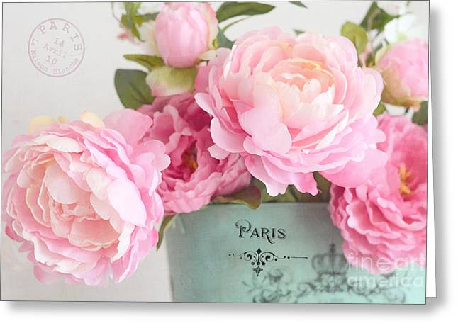 Paris Peonies Shabby Chic Dreamy Pink Peonies Romantic Cottage Chic Paris Peonies Floral Art Greeting Card by Kathy Fornal