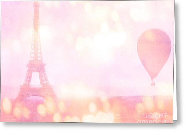 Paris Shabby Chic Romantic Dreamy Pink Eiffel Tower With Hot Air Balloon Greeting Card