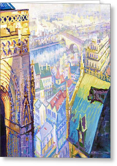 Paris Shadow Notre Dame De Paris Greeting Card by Yuriy  Shevchuk