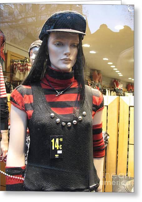 Paris Shopping Female Mannequin Art Deco Fashion Window Dressing Greeting Card
