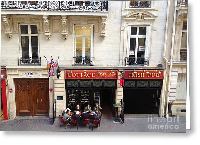 Paris Sidewalk Cafes Cottage Elysees Irish Pub - Paris Pubs Sidewalk Cafes Red Architecture Art Deco Greeting Card by Kathy Fornal