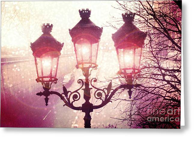 Paris Street Lanterns Lamps Street Architecture - Paris Ornate Lanterns Lamps Greeting Card by Kathy Fornal