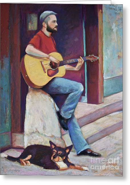 Paris Street Musician And Dog Greeting Card by Joyce A Guariglia