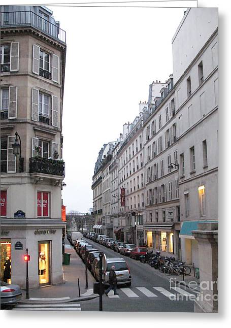Paris Street Scenes - Paris Architecture Buildings Lights - Paris Winter Gray Street Photos Greeting Card by Kathy Fornal
