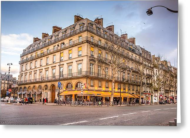 Corner Cafe In Paris Greeting Card by Pati Photography