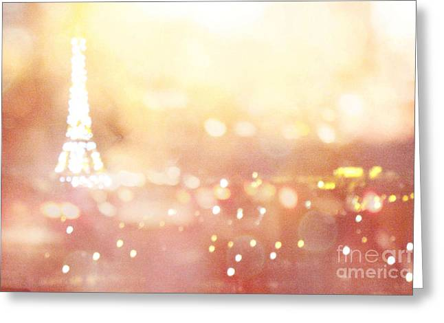 Paris Surreal Dreamy Eiffel Tower Night Lights - Paris Fantasy Eiffel Tower Abstract Bokeh Night Art Greeting Card by Kathy Fornal