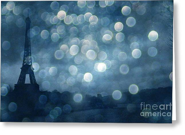 Paris Surreal Eiffel Tower Sapphire Blue Starry Night - Eiffel Tower Blue Stars Bokeh Night Sky  Greeting Card by Kathy Fornal