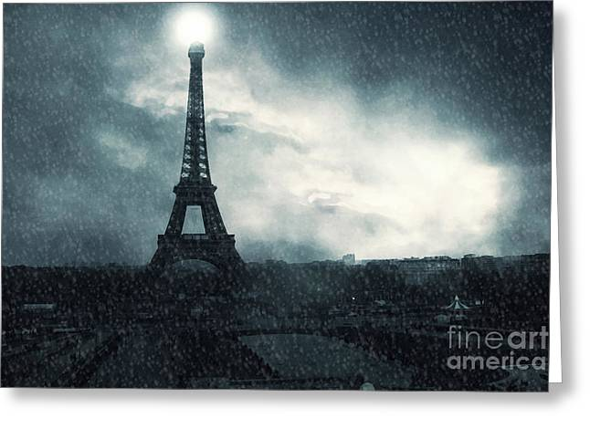 Paris Surreal Eiffel Tower Stormy Winter Snow Landscape - Eiffel Tower Winter Snow Ethereal Skies Greeting Card by Kathy Fornal
