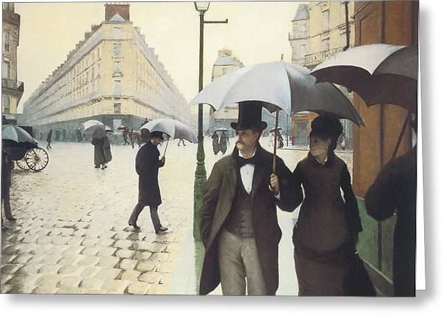 Paris The Place De L'europe On A Rainy Day Greeting Card by Gustave Caillebotte