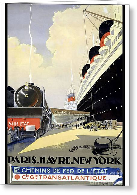 Paris To New York Vintage Travel Poster Greeting Card by Jon Neidert