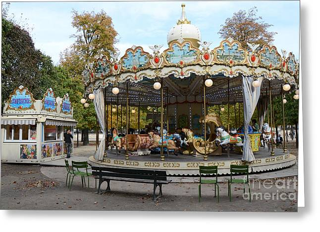 Paris Tuileries Park Carousel - Dreamy Paris Carousel - Paris Merry-go-round Carousel - Tuileries Greeting Card by Kathy Fornal