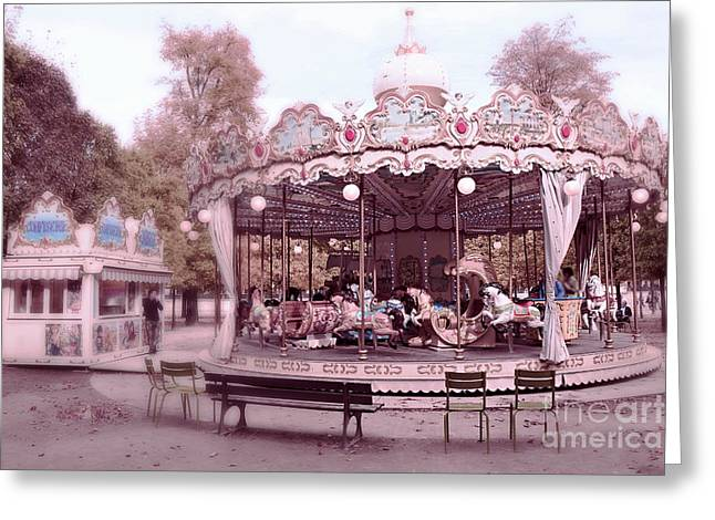 Paris Tuileries Park Carousel - Paris Pink Carousel Horses - Paris Merry-go-round Carousel Art Greeting Card by Kathy Fornal