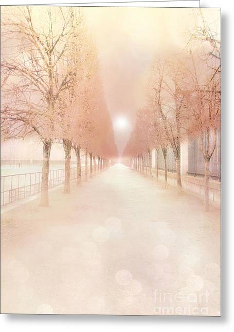 Paris Tuileries Row Of Trees - Paris Jardin Des Tuileries Dreamy Park Landscape  Greeting Card by Kathy Fornal