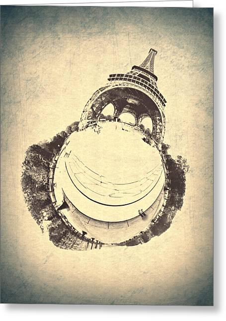 Paris Vintage Eiffel Tower Greeting Card by World Art Prints And Designs