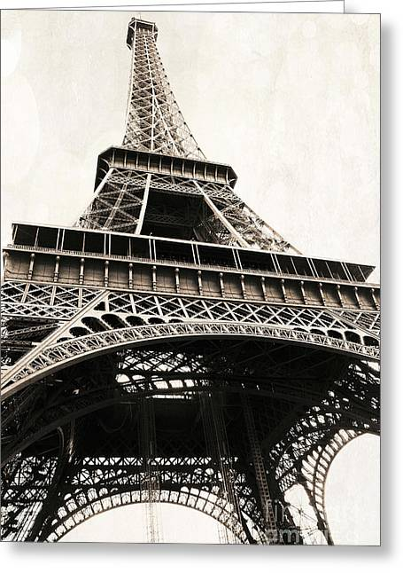 Paris Vintage Sepia Eiffel Tower Architecture - Eiffel Tower Sepia Fine Art Photography Greeting Card