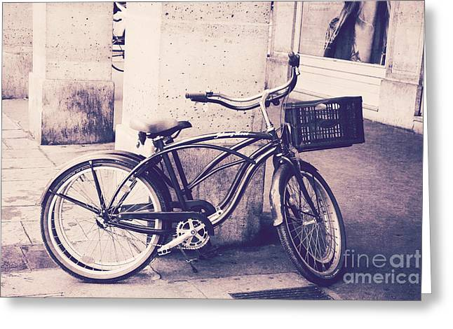 Paris Vintage Style Bicycle Photography - Paris Bicycle Bike Street Photo - Paris Vintage Bike Art Greeting Card by Kathy Fornal