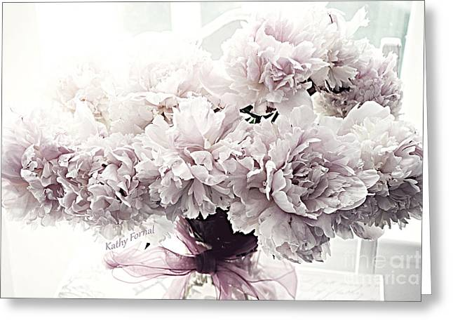 Paris Vintage Style Peonies Art - Paris Romantic French Lavender And Pink Peonies Greeting Card by Kathy Fornal