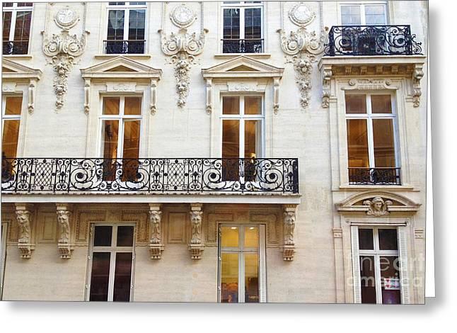Paris Windows And Balconies - Winter White And Black Paris Windows Building Architecture Art Nouveau Greeting Card