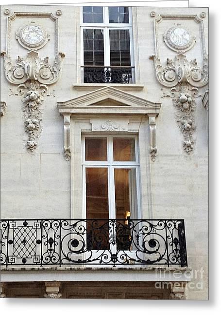Paris Windows Lace Balconies Art Nouveau - Romantic Paris Window Balcony Architecture Art Deco Greeting Card by Kathy Fornal