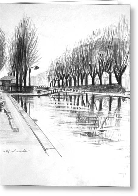 Paris Winter Canal Greeting Card by Mark Lunde