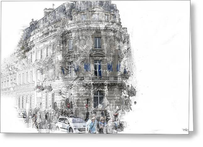 Paris With Flags Greeting Card by Evie Carrier