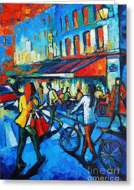 Parisian Cafe Greeting Card by Mona Edulesco