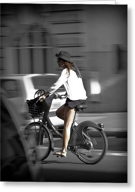 Parisian Girl Cyclist Greeting Card by Maj Seda