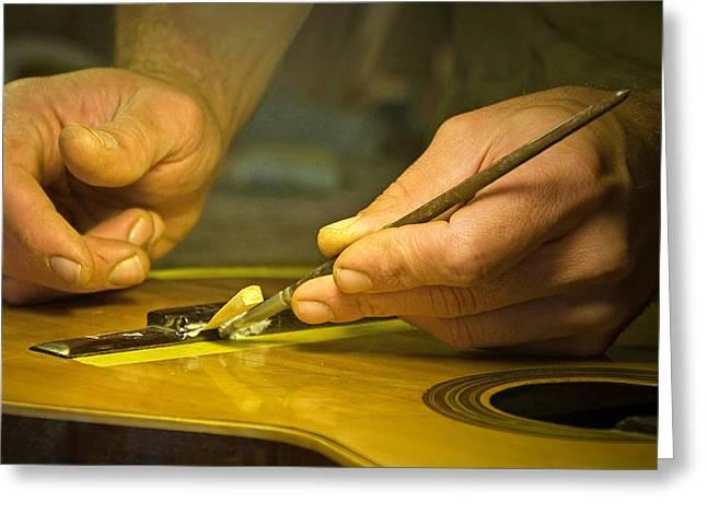 Parisian Luthier At Work Greeting Card by Kent Sorensen