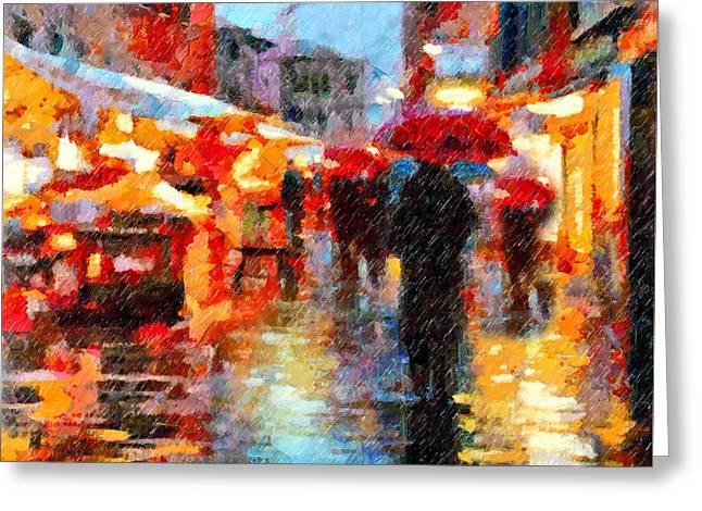 Parisian Rain Walk Abstract Realism Greeting Card by Georgiana Romanovna