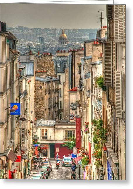 Parisian Street View Greeting Card by Malu Couttolenc