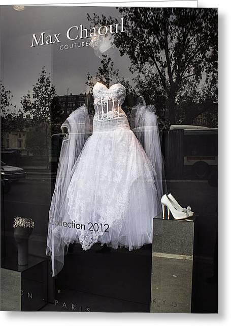 Parisian Wedding Dress Greeting Card by Glenn DiPaola