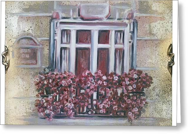Parisian Window Greeting Card by Bonnie Sprung