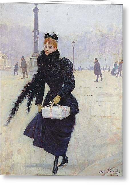 Parisian Woman In The Place De La Concorde, C.1890 Oil On Canvas Greeting Card by Jean Beraud