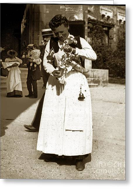Greeting Card featuring the photograph Parisian Woman Lady Paris France 1900 Historical Photo by California Views Mr Pat Hathaway Archives