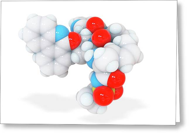 Paritaprevir Drug Molecule Greeting Card by Ramon Andrade 3dciencia