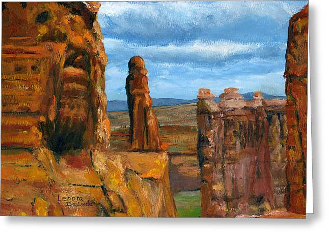 Greeting Card featuring the painting Park Avenue Arches National Park by Lenora  De Lude