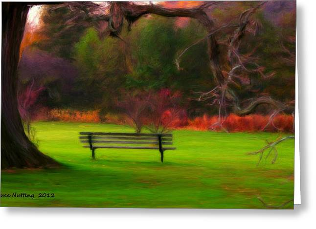 Greeting Card featuring the painting Park Bench by Bruce Nutting