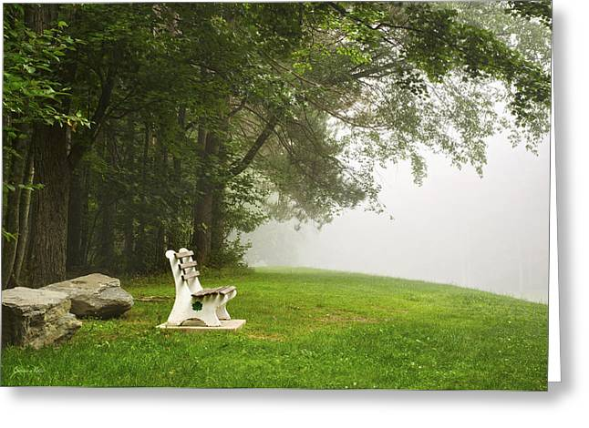 Park Bench Under A Tree In The Morning Fog Greeting Card