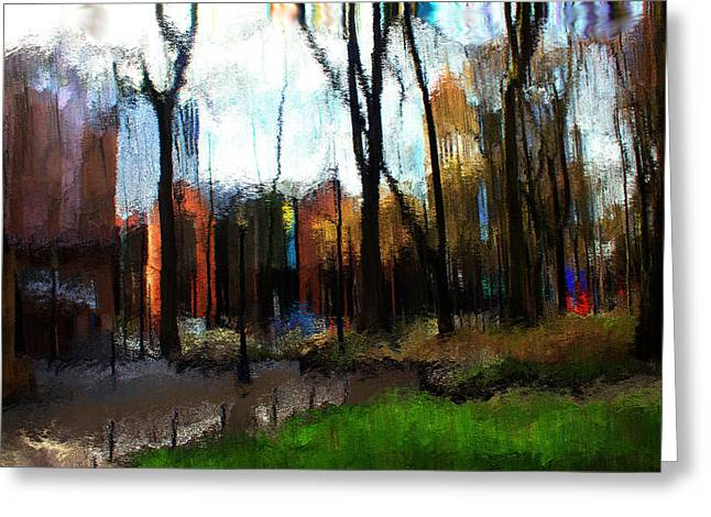 Greeting Card featuring the mixed media Park Block I by Terence Morrissey